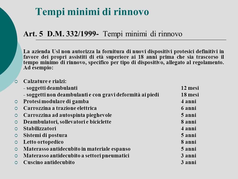 Tempi minimi di rinnovo Art. 5 D.M. 332/1999- Tempi minimi di rinnovo La azienda Usl non autorizza la fornitura di nuovi dispositivi protesici definit