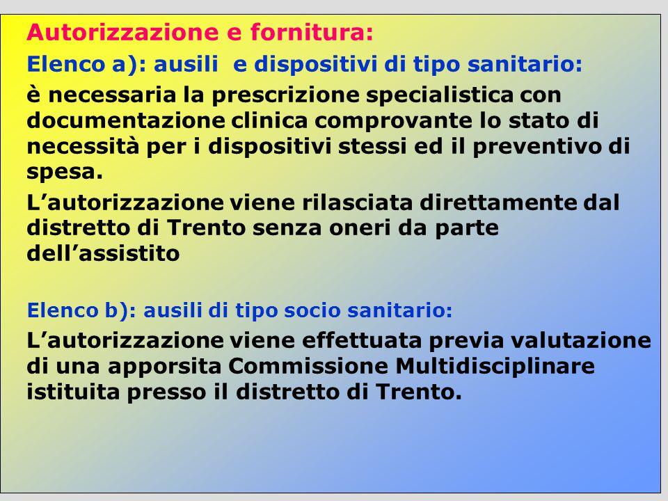 Autorizzazione e fornitura: Elenco a): ausili e dispositivi di tipo sanitario: è necessaria la prescrizione specialistica con documentazione clinica c