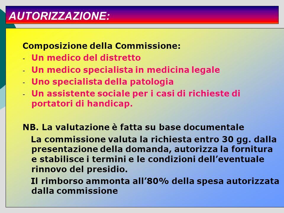 AUTORIZZAZIONE: Composizione della Commissione: - Un medico del distretto - Un medico specialista in medicina legale - Uno specialista della patologia