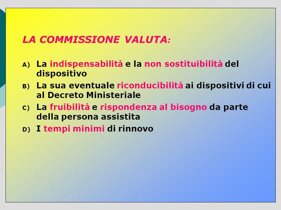 LA COMMISSIONE VALUTA : A) La indispensabilità e la non sostituibilità del dispositivo B) La sua eventuale riconducibilità ai dispositivi di cui al De