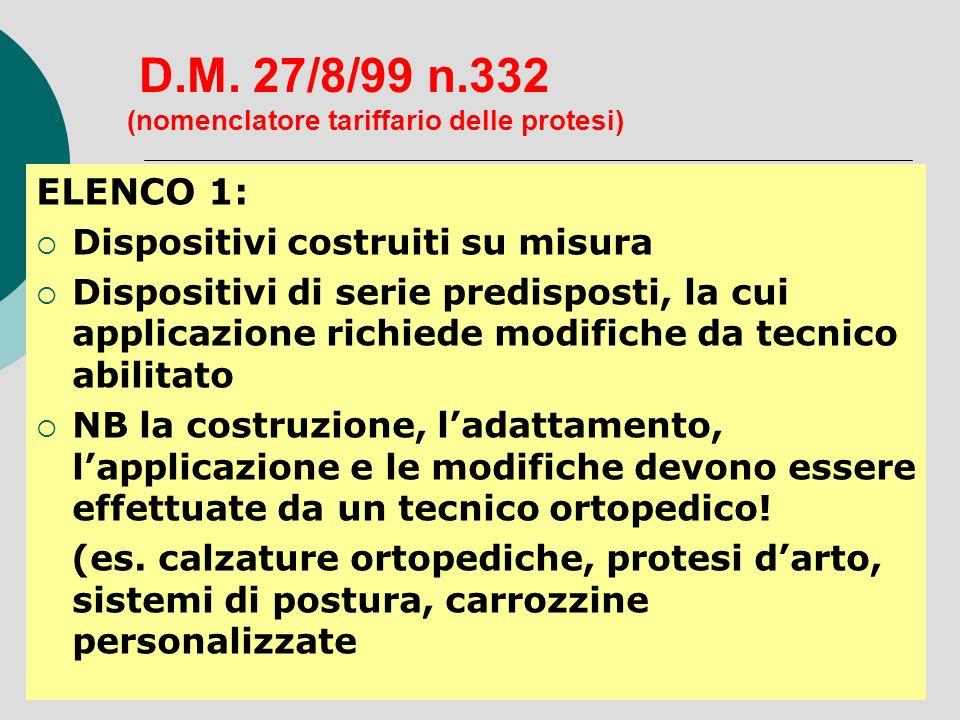 D.M. 27/8/99 n.332 (nomenclatore tariffario delle protesi) ELENCO 1: Dispositivi costruiti su misura Dispositivi di serie predisposti, la cui applicaz