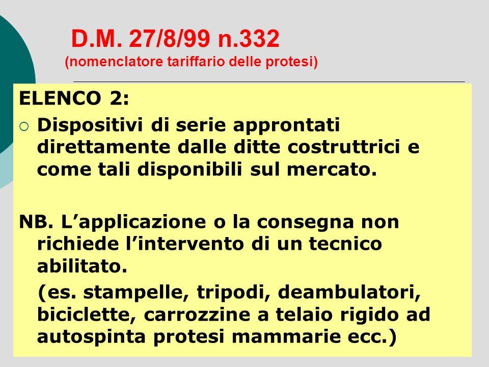 D.M. 27/8/99 n.332 (nomenclatore tariffario delle protesi) ELENCO 2: Dispositivi di serie approntati direttamente dalle ditte costruttrici e come tali