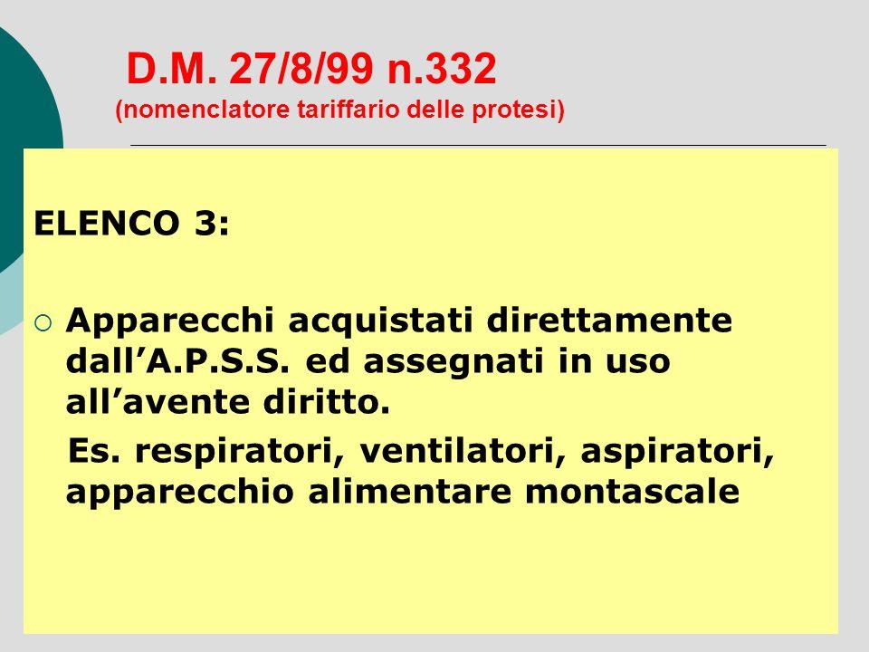 D.M. 27/8/99 n.332 (nomenclatore tariffario delle protesi) ELENCO 3: Apparecchi acquistati direttamente dallA.P.S.S. ed assegnati in uso allavente dir