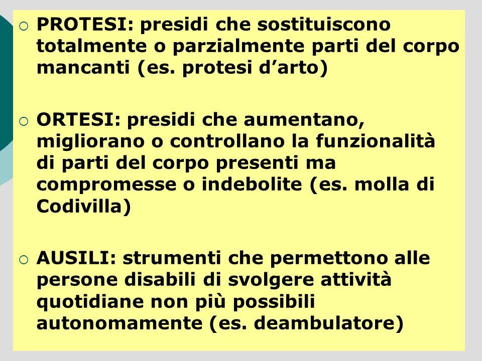 PROTESI: presidi che sostituiscono totalmente o parzialmente parti del corpo mancanti (es. protesi darto) ORTESI: presidi che aumentano, migliorano o
