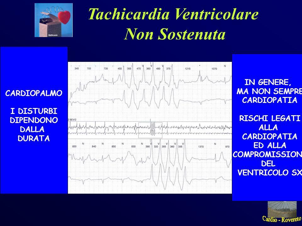Tachicardia Ventricolare Non Sostenuta CARDIOPALMO I DISTURBI DIPENDONO DALLA DURATA IN GENERE, MA NON SEMPRE CARDIOPATIA RISCHI LEGATI ALLA CARDIOPAT