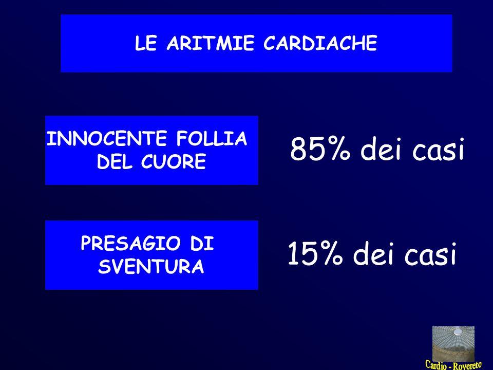 LE ARITMIE CARDIACHE INNOCENTE FOLLIA DEL CUORE PRESAGIO DI SVENTURA 85% dei casi 15% dei casi