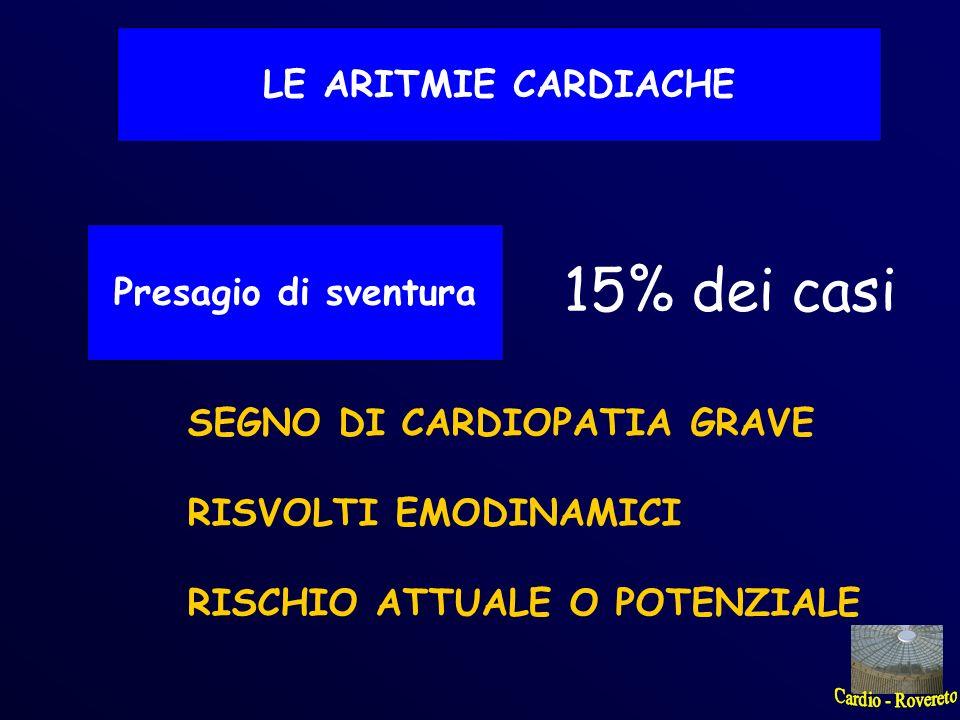 LE ARITMIE CARDIACHE Presagio di sventura 15% dei casi SEGNO DI CARDIOPATIA GRAVE RISVOLTI EMODINAMICI RISCHIO ATTUALE O POTENZIALE