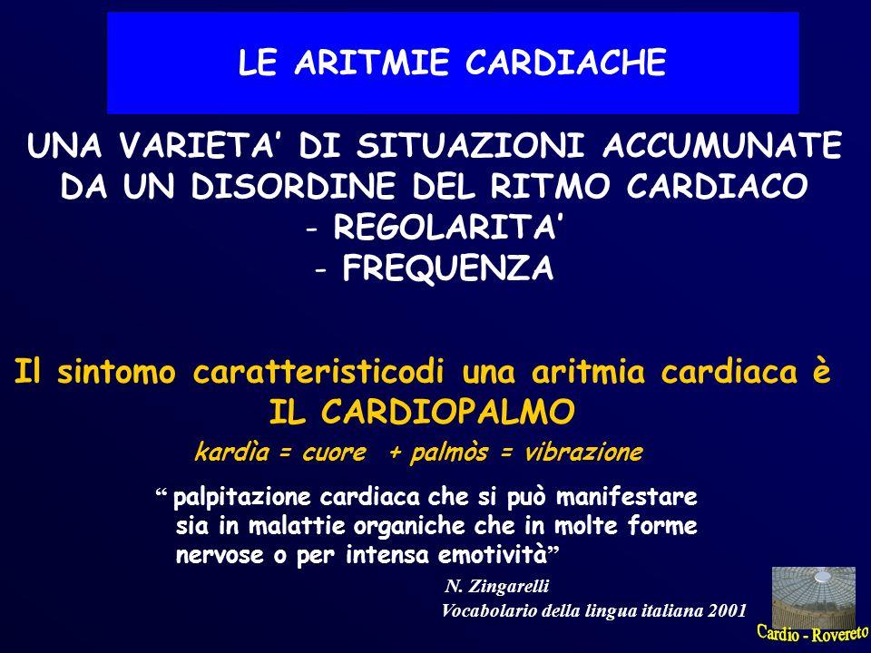 Il sintomo caratteristicodi una aritmia cardiaca è IL CARDIOPALMO kardìa = cuore + palmòs = vibrazione palpitazione cardiaca che si può manifestare si