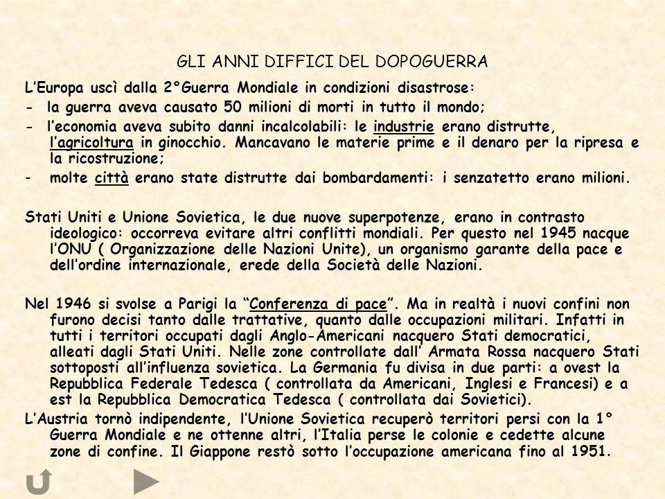 GLI ANNI DIFFICI DEL DOPOGUERRA LEuropa uscì dalla 2°Guerra Mondiale in condizioni disastrose: - la guerra aveva causato 50 milioni di morti in tutto