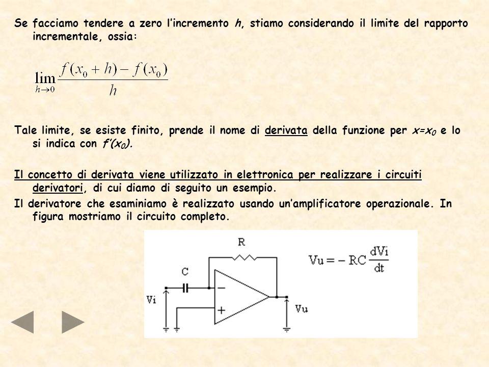Se facciamo tendere a zero lincremento h, stiamo considerando il limite del rapporto incrementale, ossia: Tale limite, se esiste finito, prende il nom
