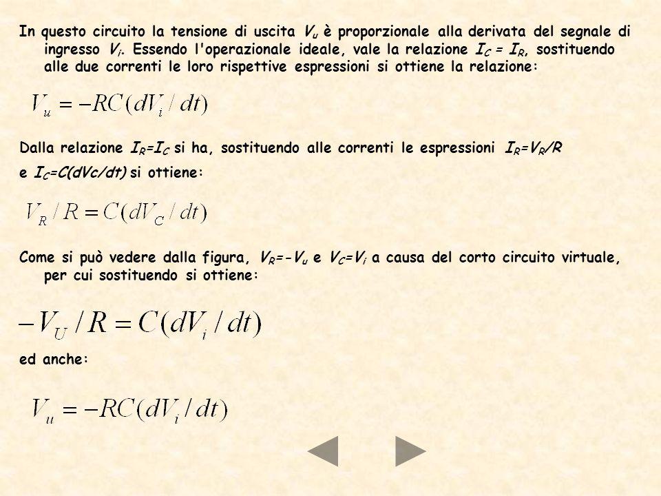 In questo circuito la tensione di uscita V u è proporzionale alla derivata del segnale di ingresso V i. Essendo l'operazionale ideale, vale la relazio