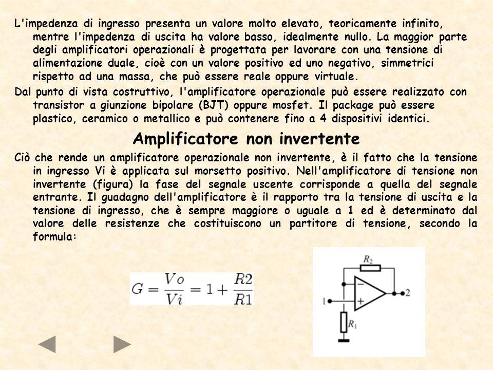 Amplificatore invertente Ciò che rende un amplificatore operazionale invertente, è il fatto che la tensione in ingresso Vi è applicata sul morsetto negativo.