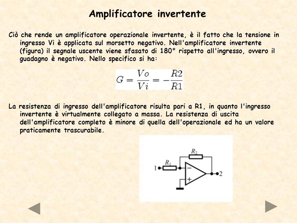 Amplificatore invertente Ciò che rende un amplificatore operazionale invertente, è il fatto che la tensione in ingresso Vi è applicata sul morsetto ne