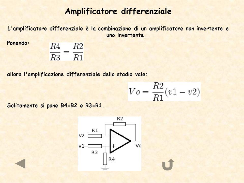 Amplificatore differenziale L'amplificatore differenziale è la combinazione di un amplificatore non invertente e uno invertente. Ponendo: allora l'amp