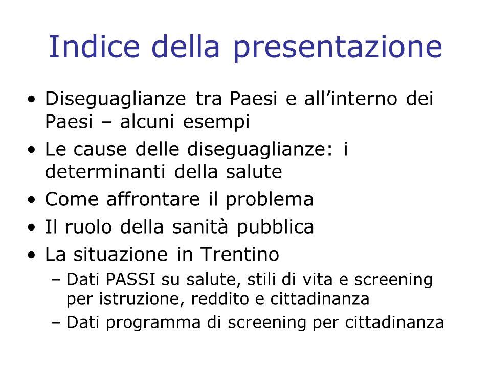 Approfondimento Tumori della cervice uterina e adesione al Pap-test in provincia di Trento per cittadinanza