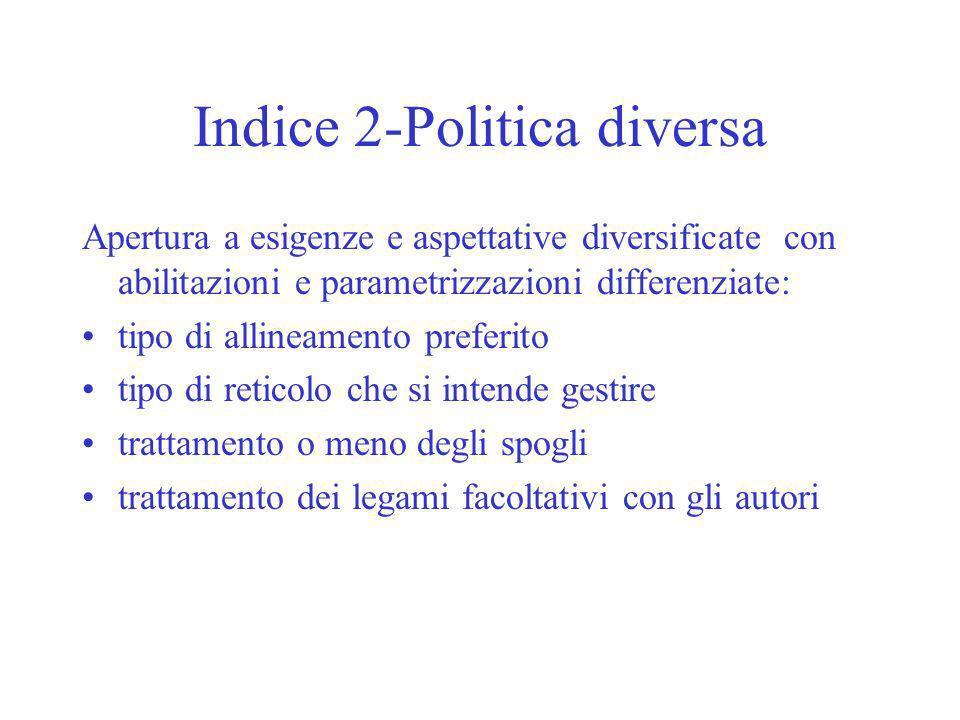Indice 2-Politica diversa Apertura a esigenze e aspettative diversificate con abilitazioni e parametrizzazioni differenziate: tipo di allineamento pre