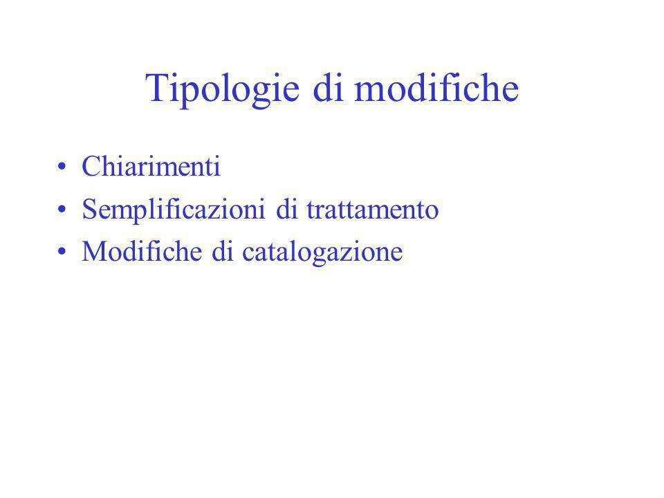 Tipologie di modifiche Chiarimenti Semplificazioni di trattamento Modifiche di catalogazione