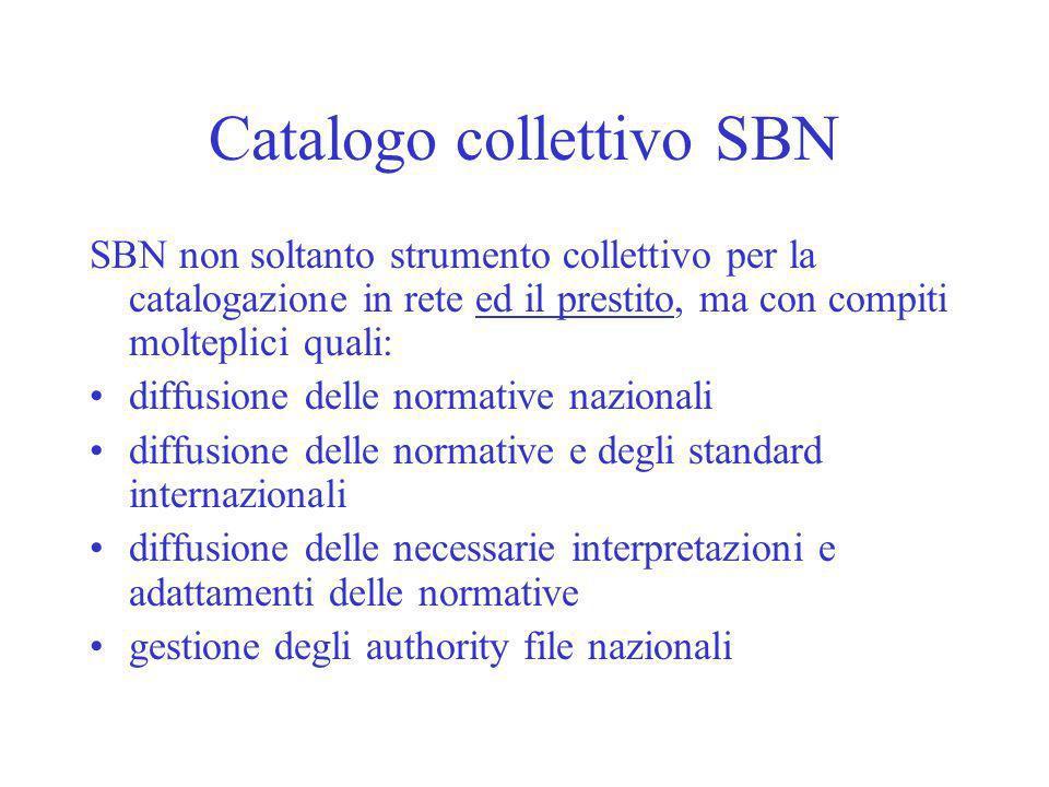 Catalogo collettivo SBN SBN non soltanto strumento collettivo per la catalogazione in rete ed il prestito, ma con compiti molteplici quali: diffusione