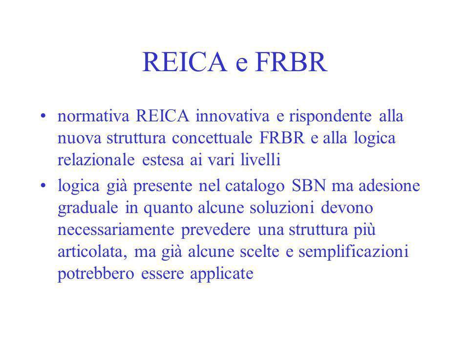 REICA e FRBR normativa REICA innovativa e rispondente alla nuova struttura concettuale FRBR e alla logica relazionale estesa ai vari livelli logica gi