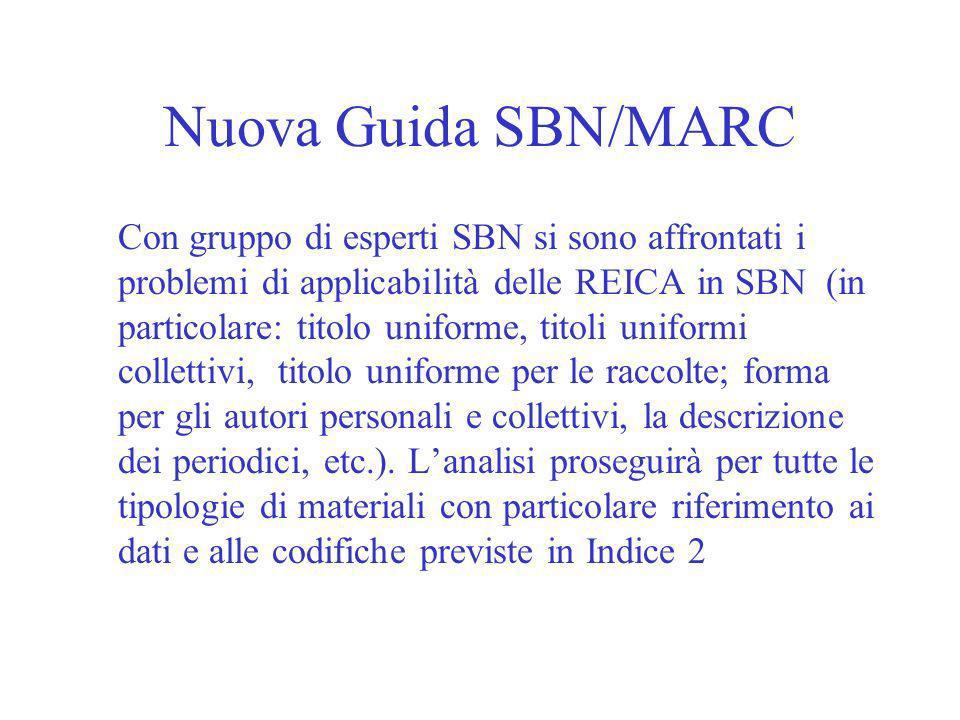 Nuova Guida SBN/MARC Con gruppo di esperti SBN si sono affrontati i problemi di applicabilità delle REICA in SBN (in particolare: titolo uniforme, titoli uniformi collettivi, titolo uniforme per le raccolte; forma per gli autori personali e collettivi, la descrizione dei periodici, etc.).