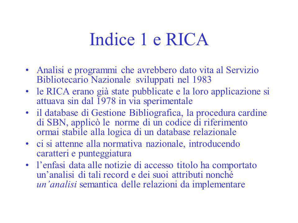 Indice 1 e RICA Analisi e programmi che avrebbero dato vita al Servizio Bibliotecario Nazionale sviluppati nel 1983 le RICA erano già state pubblicate
