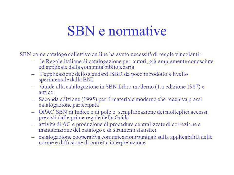 SBN e normative SBN come catalogo collettivo on line ha avuto necessità di regole vincolanti : – le Regole italiane di catalogazione per autori, già a