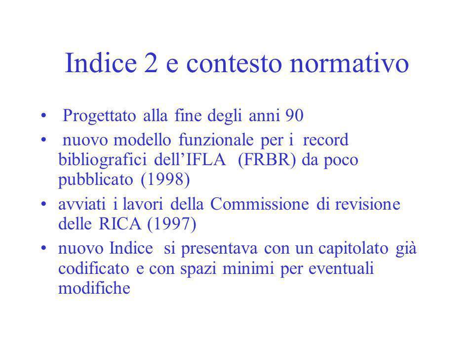 Indice 2 e contesto normativo Progettato alla fine degli anni 90 nuovo modello funzionale per i record bibliografici dellIFLA (FRBR) da poco pubblicato (1998) avviati i lavori della Commissione di revisione delle RICA (1997) nuovo Indice si presentava con un capitolato già codificato e con spazi minimi per eventuali modifiche