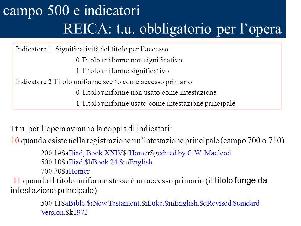 campo 500 e indicatori REICA: t.u. obbligatorio per lopera I t.u. per lopera avranno la coppia di indicatori: 10 quando esiste nella registrazione uni