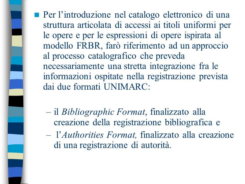 Per lintroduzione nel catalogo elettronico di una struttura articolata di accessi ai titoli uniformi per le opere e per le espressioni di opere ispira