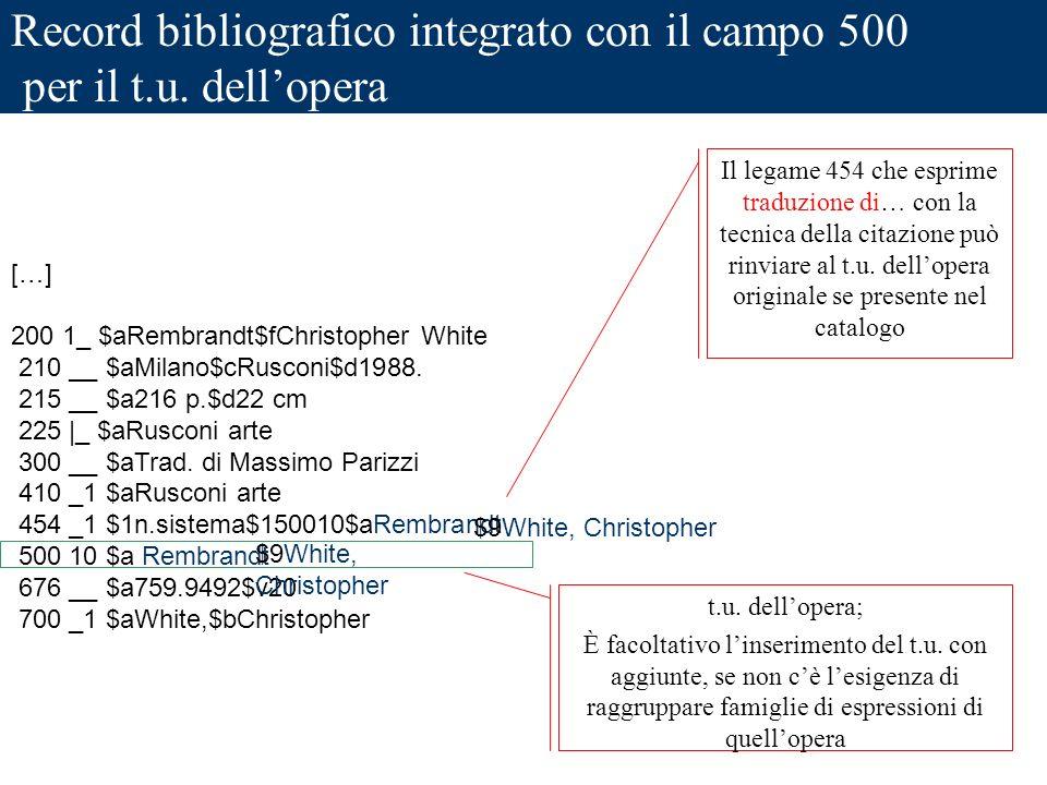 Record bibliografico integrato con il campo 500 per il t.u. dellopera […] 200 1_ $aRembrandt$fChristopher White 210 __ $aMilano$cRusconi$d1988. 215 __