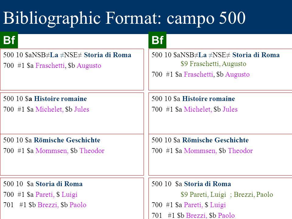 Bibliographic Format: campo 500 500 10 $aNSBLa NSE Storia di Roma 700 #1 $a Fraschetti, $b Augusto 500 10 $a Histoire romaine 700 #1 $a Michelet, $b J