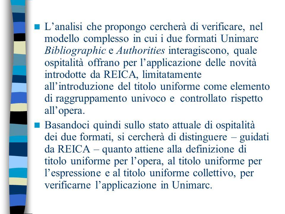 Lanalisi che propongo cercherà di verificare, nel modello complesso in cui i due formati Unimarc Bibliographic e Authorities interagiscono, quale ospi