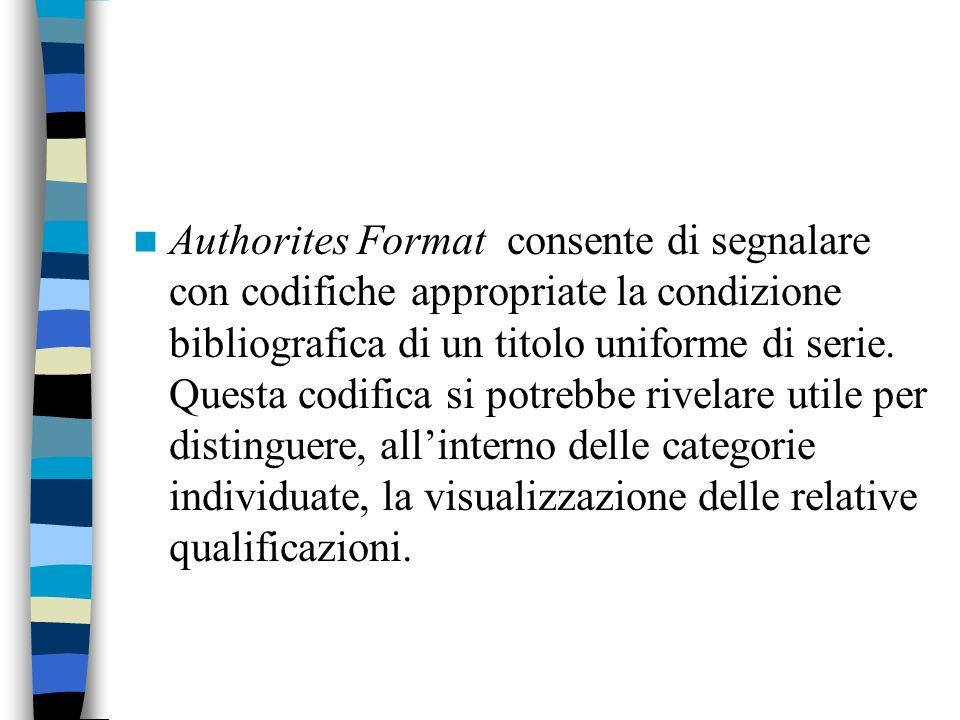 Authorites Format consente di segnalare con codifiche appropriate la condizione bibliografica di un titolo uniforme di serie. Questa codifica si potre