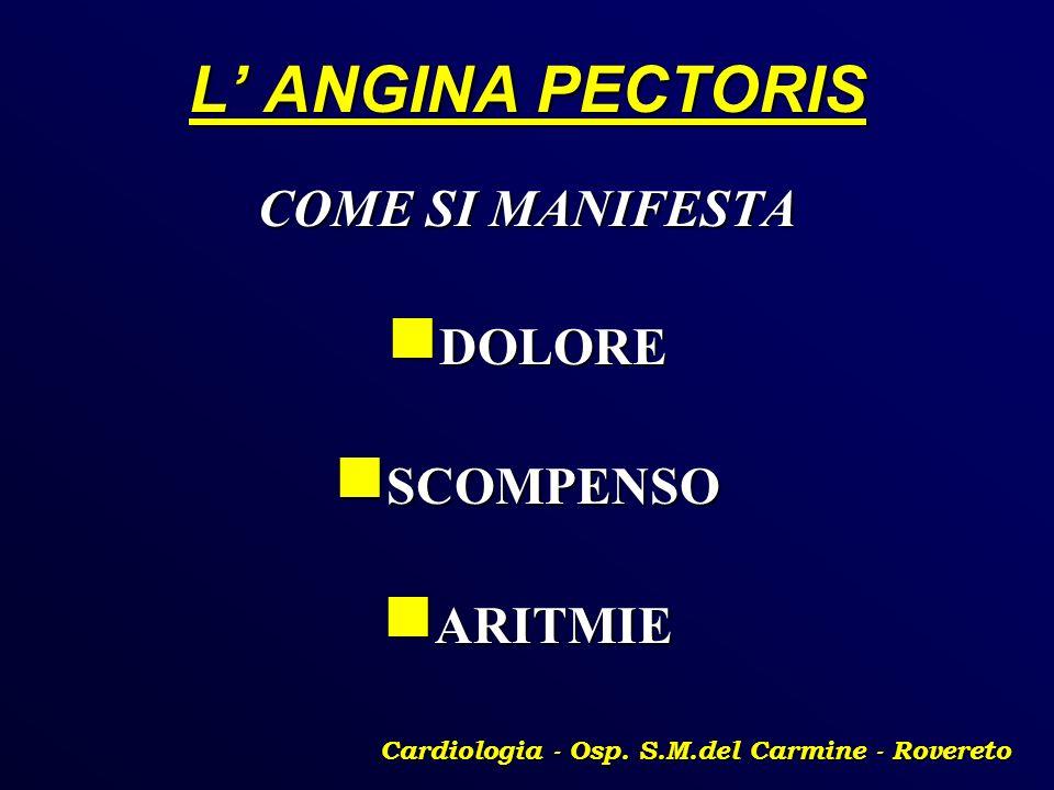 L ANGINA PECTORIS COME SI MANIFESTA DOLORE DOLORE SCOMPENSO SCOMPENSO ARITMIE ARITMIE Cardiologia - Osp. S.M.del Carmine - Rovereto