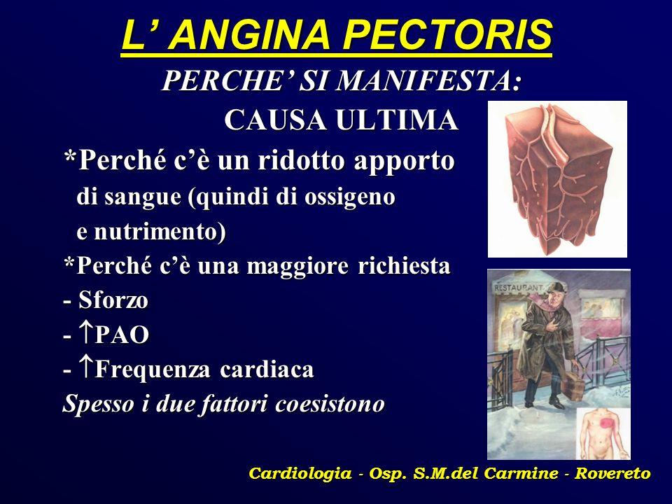 L ANGINA PECTORIS PERCHE SI MANIFESTA: CAUSA ULTIMA *Perché cè un ridotto apporto di sangue (quindi di ossigeno di sangue (quindi di ossigeno e nutrim