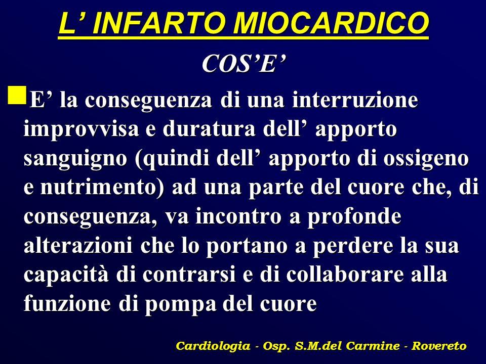 L INFARTO MIOCARDICO COSE E la conseguenza di una interruzione improvvisa e duratura dell apporto sanguigno (quindi dell apporto di ossigeno e nutrime