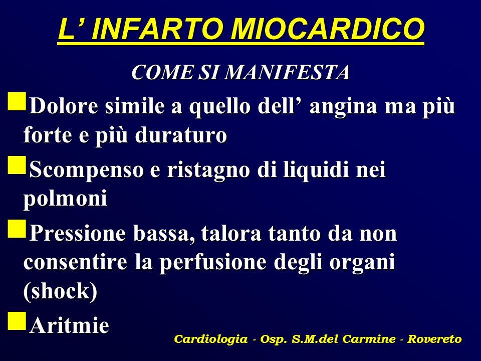 L INFARTO MIOCARDICO COME SI MANIFESTA Dolore simile a quello dell angina ma più forte e più duraturo Dolore simile a quello dell angina ma più forte