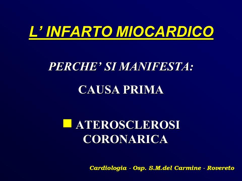 L INFARTO MIOCARDICO PERCHE SI MANIFESTA: CAUSA PRIMA ATEROSCLEROSI CORONARICA ATEROSCLEROSI CORONARICA Cardiologia - Osp. S.M.del Carmine - Rovereto