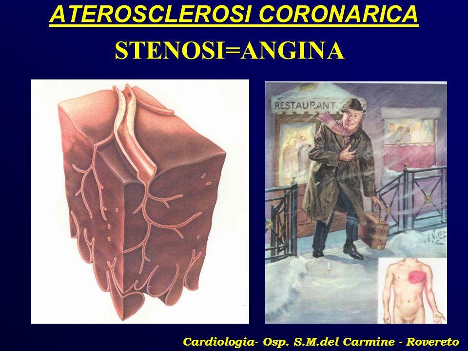 ATEROSCLEROSI CORONARICA Cardiologia- Osp. S.M.del Carmine - Rovereto STENOSI=ANGINA