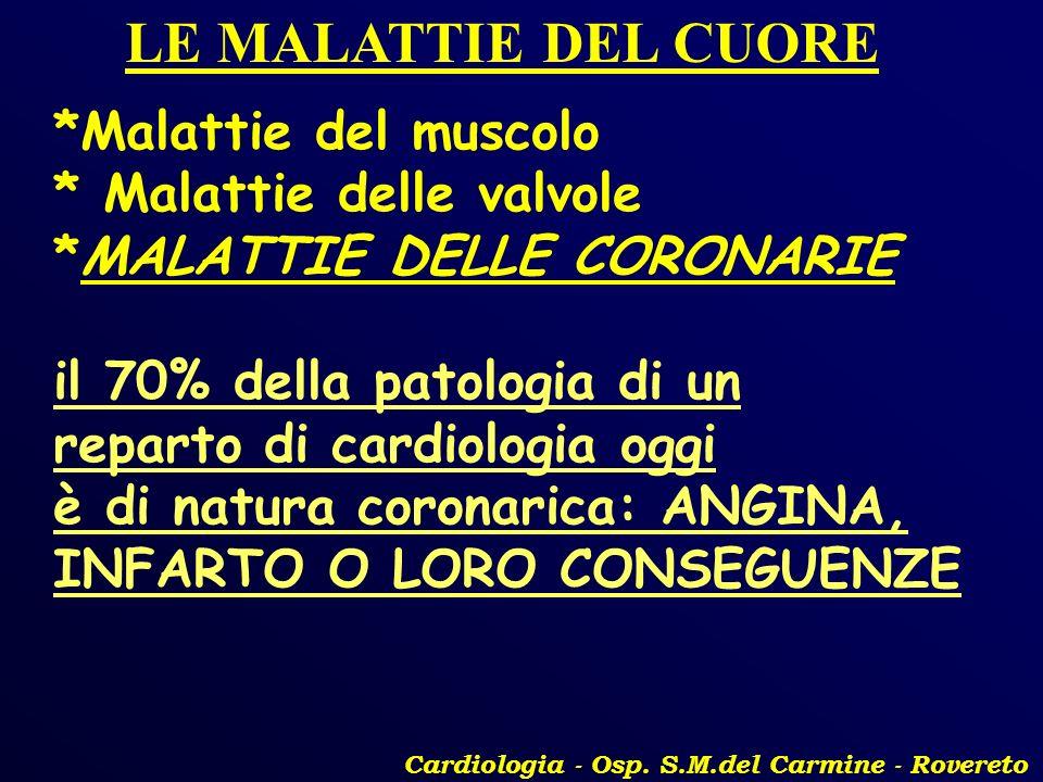 Cardiologia - Osp. S.M.del Carmine - Rovereto LE MALATTIE DEL CUORE *Malattie del muscolo * Malattie delle valvole *MALATTIE DELLE CORONARIE il 70% de