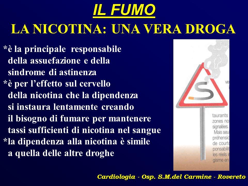 IL FUMO Cardiologia - Osp. S.M.del Carmine - Rovereto LA NICOTINA: UNA VERA DROGA *è la principale responsabile della assuefazione e della sindrome di