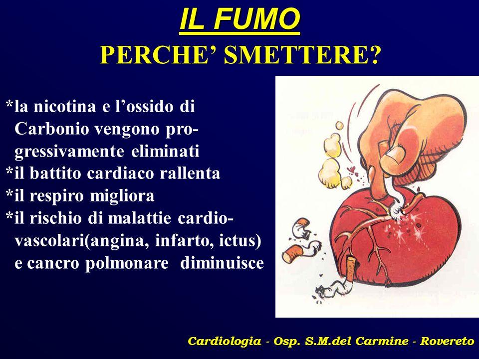 IL FUMO Cardiologia - Osp. S.M.del Carmine - Rovereto PERCHE SMETTERE? *la nicotina e lossido di Carbonio vengono pro- gressivamente eliminati *il bat