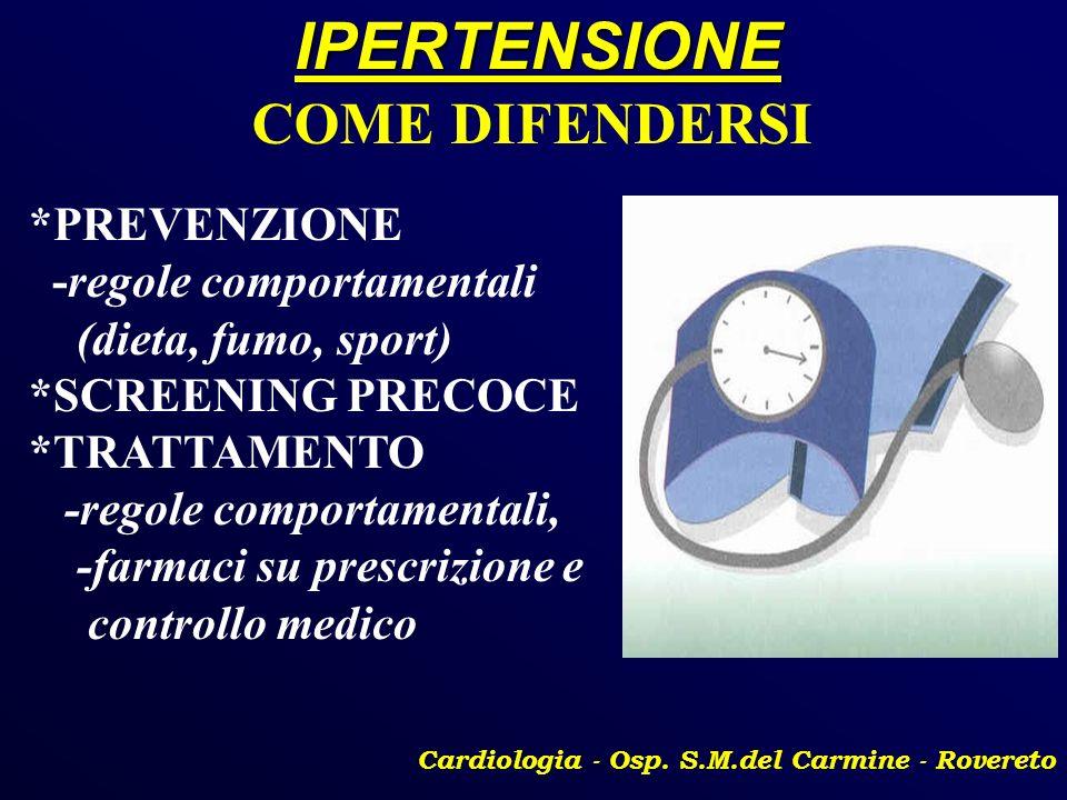 IPERTENSIONE Cardiologia - Osp. S.M.del Carmine - Rovereto COME DIFENDERSI *PREVENZIONE -regole comportamentali (dieta, fumo, sport) *SCREENING PRECOC