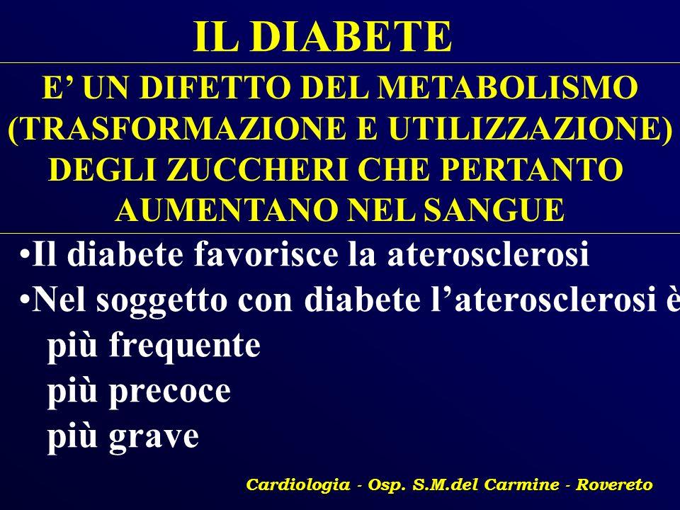 IL DIABETE E UN DIFETTO DEL METABOLISMO (TRASFORMAZIONE E UTILIZZAZIONE) DEGLI ZUCCHERI CHE PERTANTO AUMENTANO NEL SANGUE Il diabete favorisce la ater