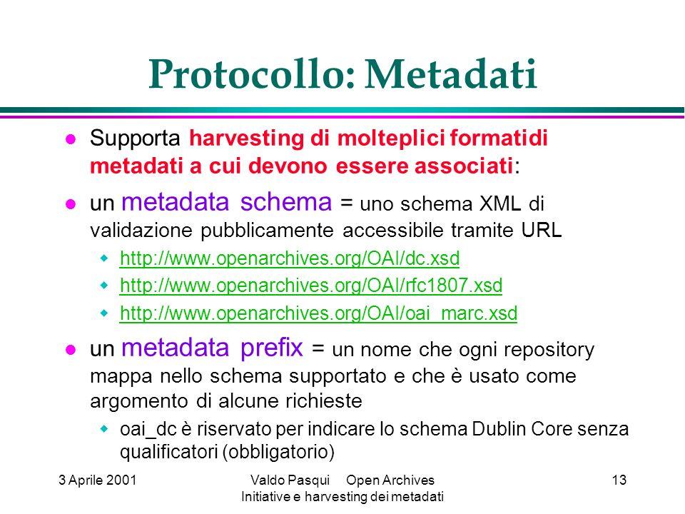 3 Aprile 2001Valdo Pasqui Open Archives Initiative e harvesting dei metadati 13 Protocollo: Metadati Supporta harvesting di molteplici formatidi metadati a cui devono essere associati: un metadata schema = uno schema XML di validazione pubblicamente accessibile tramite URL http://www.openarchives.org/OAI/dc.xsd http://www.openarchives.org/OAI/rfc1807.xsd http://www.openarchives.org/OAI/oai_marc.xsd un metadata prefix = un nome che ogni repository mappa nello schema supportato e che è usato come argomento di alcune richieste oai_dc è riservato per indicare lo schema Dublin Core senza qualificatori (obbligatorio)