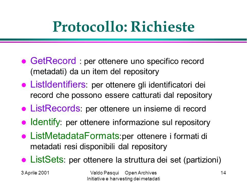 3 Aprile 2001Valdo Pasqui Open Archives Initiative e harvesting dei metadati 14 Protocollo: Richieste GetRecord : per ottenere uno specifico record (metadati) da un item del repository ListIdentifiers : per ottenere gli identificatori dei record che possono essere catturati dal repository ListRecords : per ottenere un insieme di record Identify : per ottenere informazione sul repository ListMetadataFormats :per ottenere i formati di metadati resi disponibili dal repository ListSets : per ottenere la struttura dei set (partizioni)