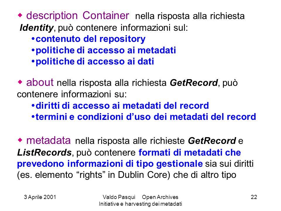 description Container nella risposta alla richiesta Identity, può contenere informazioni sul: contenuto del repository politiche di accesso ai metadat