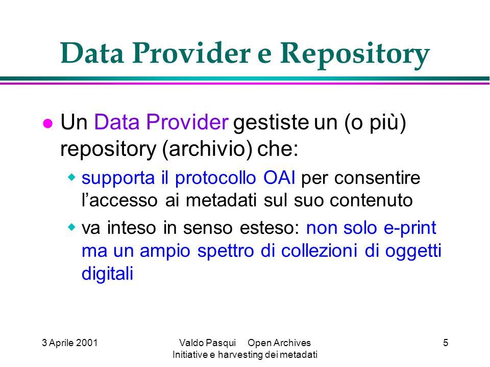 3 Aprile 2001Valdo Pasqui Open Archives Initiative e harvesting dei metadati 5 Data Provider e Repository Un Data Provider gestiste un (o più) reposit