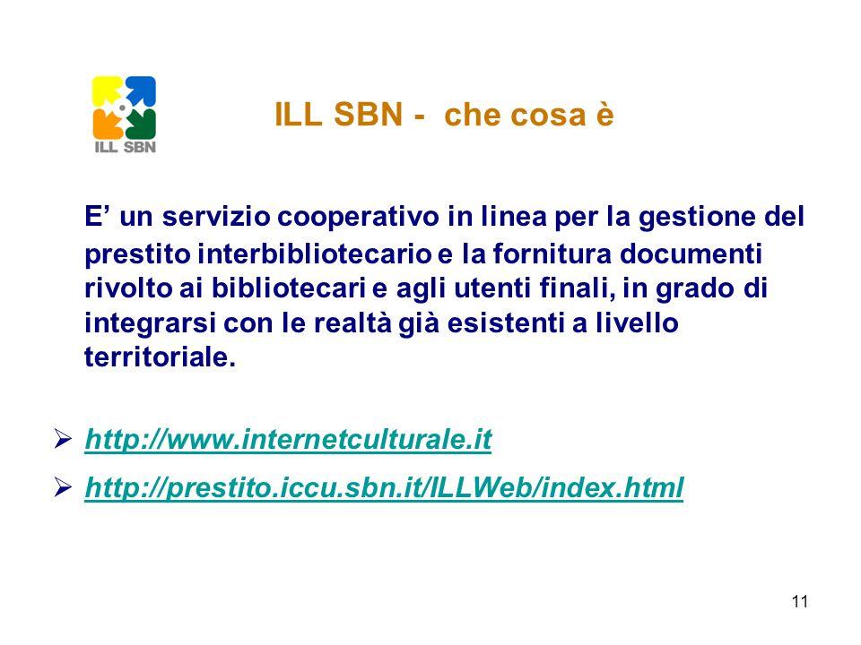 11 ILL SBN - che cosa è E un servizio cooperativo in linea per la gestione del prestito interbibliotecario e la fornitura documenti rivolto ai bibliot