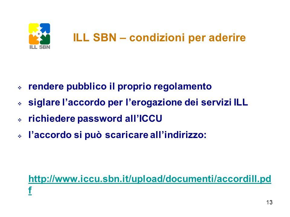 13 rendere pubblico il proprio regolamento siglare laccordo per lerogazione dei servizi ILL richiedere password allICCU laccordo si può scaricare alli